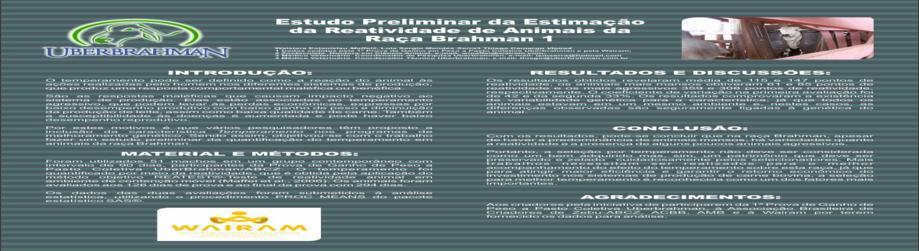 Estudo Preliminar da Estimação da Reatividade de Animais da Raça Brahman